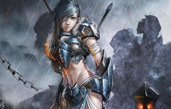 Картинка девушка, капли, оружие, дождь, крест, меч, фэнтези, арт, цепь, фонарь, броня, monkey