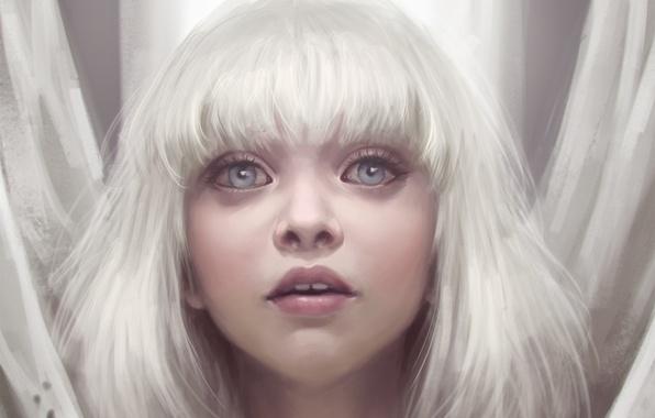 Картинка глаза, взгляд, девушка, белые волосы, art, Maddie Ziegler, Sia