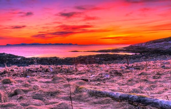 Картинка море, небо, облака, пейзаж, закат, горизонт, норвегия