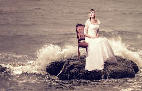 Картинка море, девушка, стул