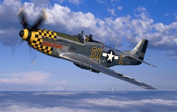 Картинка небо, облака, Mustang, истребитель, Мустанг, пропеллер, самолёт, P-51, North American, Норт Америкэн, Р-51