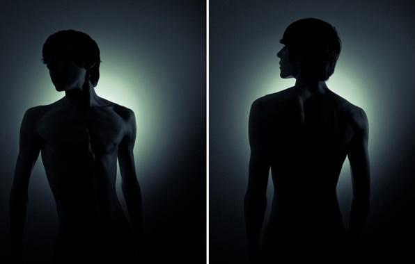 Картинка свет, фото, фон, обои, тень, арт, парень, плечи, картинка