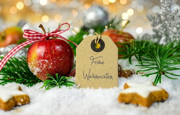 Картинка Снег, Ветки, Новый год, Яблоки, Еда, Праздники, Печенье, Выпечка