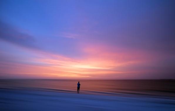 Картинка море, закат, человек