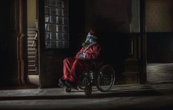Картинка коляска, противогаз, дед мороз