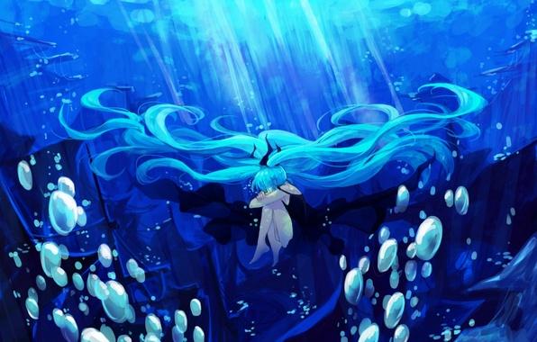 Картинка девушка, свет, пузыри, океан, волосы, корабль, арт, vocaloid, hatsune miku, под водой, вокалоид, lyrah777