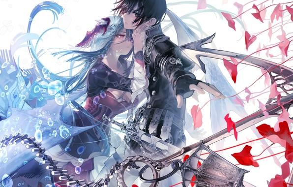 Картинка девушка, оружие, меч, аниме, арт, парень, двое, ukai saki, aikawa kanami, isekai meikyuu no saishinbu …
