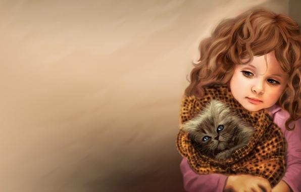 Картинка любовь, лицо, котенок, тепло, животное, волосы, ребенок, арт, девочка, одеяло, кудри