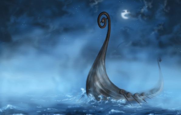 Картинка море, волны, облака, ночь, луна, корабль, арт
