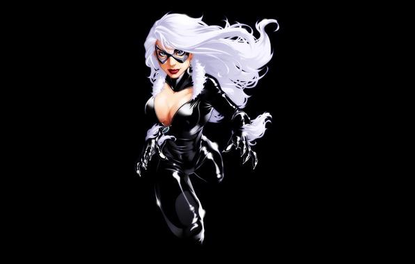 Картинка грудь, девушка, черный фон, белые волосы, комикс, марвел, Marvel Comics, Black Cat, Felicia Hardy, Черная …