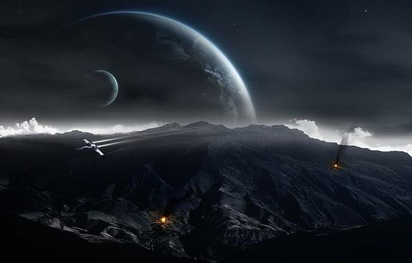 Картинка космос, звезды, горы, фон, огонь, дым, планеты