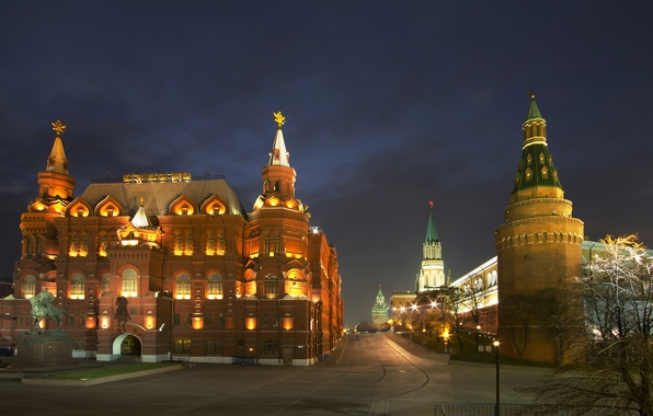 Картинка ночь, city, огни, Москва, Кремль, Россия, Russia, Moscow, Kremlin
