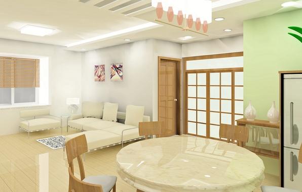 Картинка белый, дизайн, стиль, стол, комната, диван, интерьер, ваза, квартира, коричневый, бежевый, мраморный вид, карирны