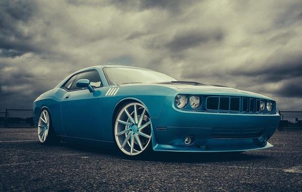 Картинка синий, Dodge, Challenger, мускул кар, додж, blue, muscle car, front, челленджер, Vossen Wheels, Doc Fluty
