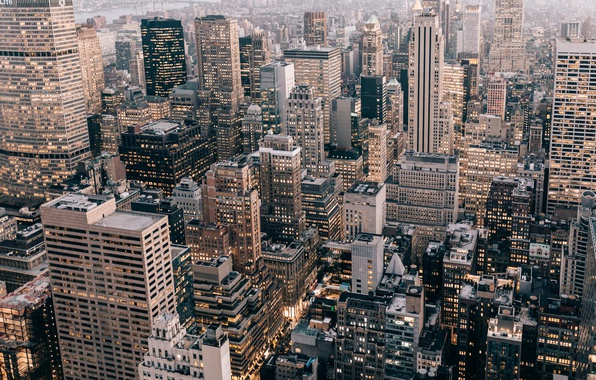 Картинка город, огни, дома, США, Нью Йорк
