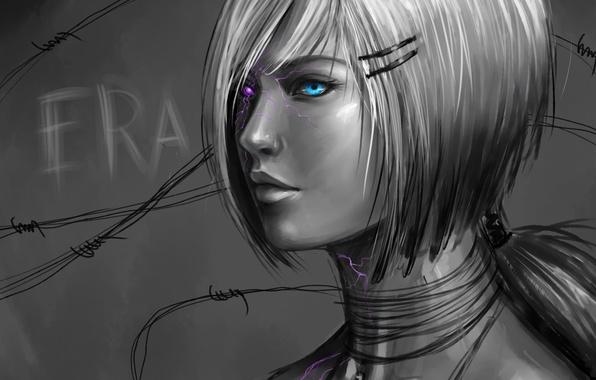 Картинка девушка, глаз, рисунок, арт, черно-белое, монохромное, rilun
