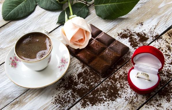 Картинка кофе, еда, шоколад, розы, кольцо, чашка, натюрморт