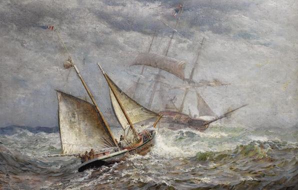 Картинка море, шторм, парусник, картина, живопись, James Gale Tyler
