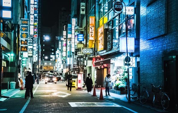 Картинка Tokyo, Japan, street, people, neon, cityscape, shops, everyday life, urban scene