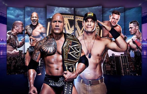 Картинка Скала, Дуэйн Джонсон, WWE, The Rock, Dwayne Johnson, Джон Сина, John Cena