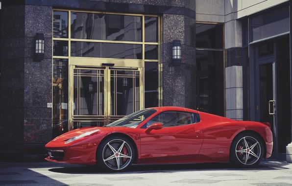 Картинка красный, здание, Ferrari, red, феррари, 458, italia, италия, building