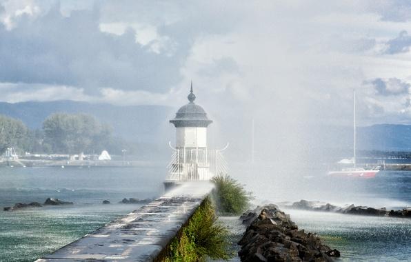 Картинка брызги, озеро, дождь, маяк, Швейцария, Lake Geneva