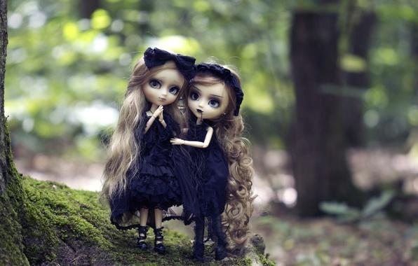 Картинка природа, готика, девочки, игрушки, куклы, блондинки, длинные волосы, готессы