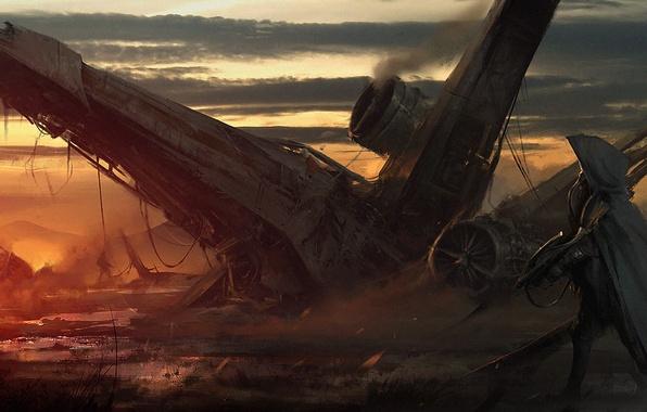 Картинка человек, капюшон, разрушение, star wars, starfighter, fan art