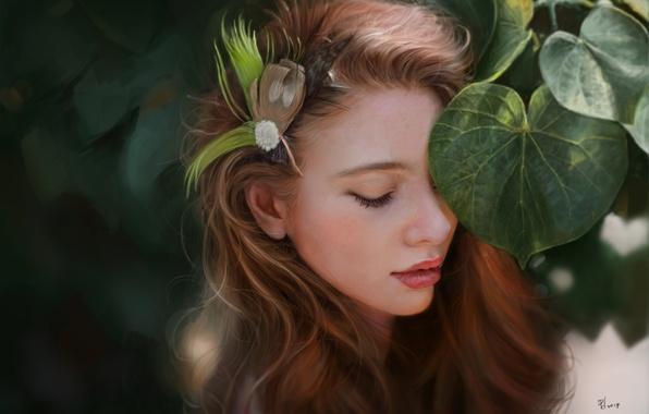 Картинка листья, девушка, лицо, листва, перья, арт, заколка