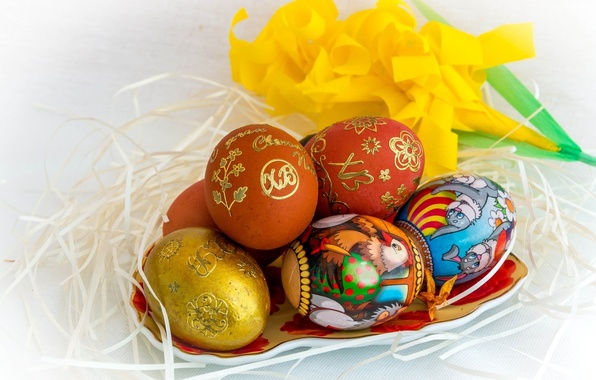 Картинка праздник, яйца, Пасха, гнездо, крашеные яйца