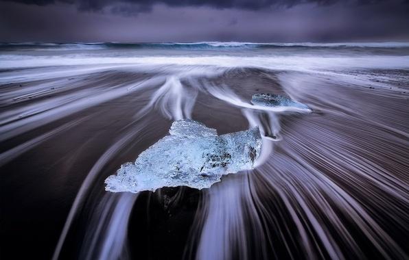 Картинка море, волны, пляж, берег, лёд, Исландия, ледниковая лагуна Йёкюльсаурлоун