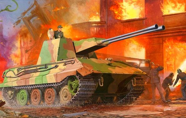 Картинка пожар, огонь, рисунок, немцы, Vincent Wai, е-75, зсу