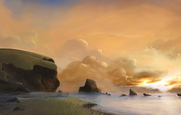 Картинка море, облака, камни, рассвет, маяк, арт, дорожка, нарисованный пейзаж