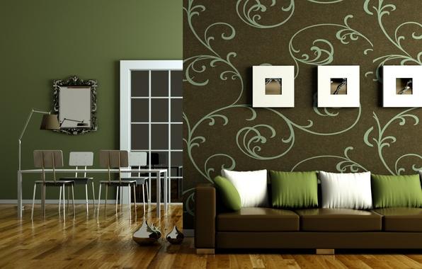 Картинка дизайн, зеленый, стиль, стол, диван, дерево, лампа, стулья, интерьер, подушки, зеркало, паркет, квартира, коричневый, гостиная