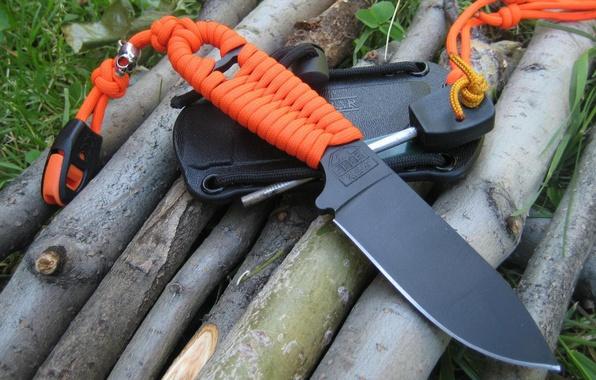 Картинка оранжевый, чёрный, нож, шнур, клинок, ножны