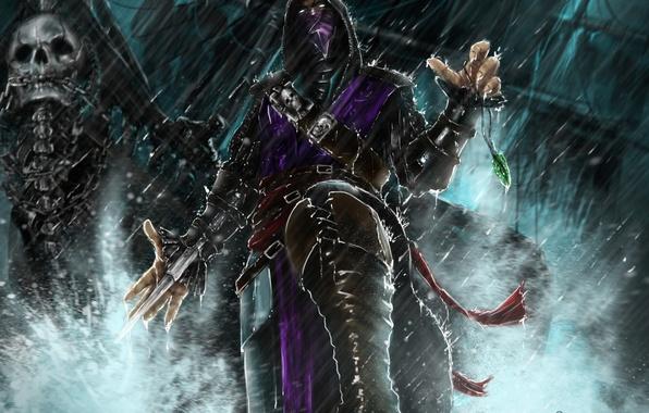 Картинка взгляд, оружие, игра, маска, арт, капюшон, Mortal Kombat, Rain, персонаж