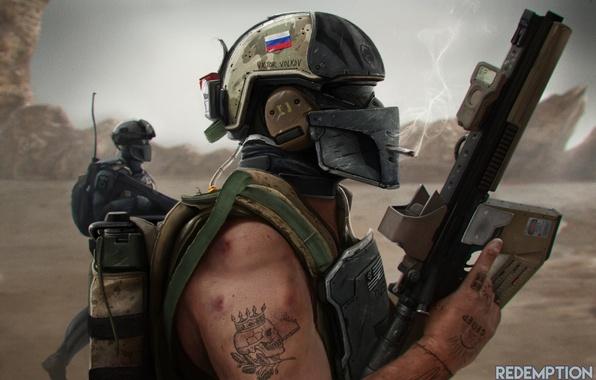 Картинка война, арт, очки, солдат, сигарета, автомат, шлем, курит, русский