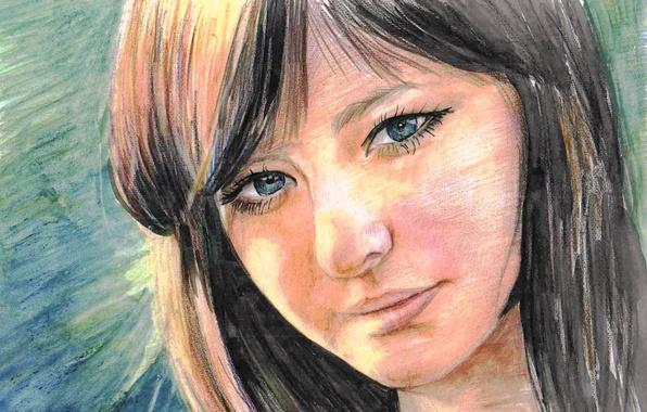 Картинка глаза, взгляд, девушка, лицо, ресницы, фон, волосы, портрет, брюнетка, губы, живопись, естественность