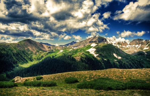 Картинка поле, небо, облака, деревья, пейзаж, горы, природа