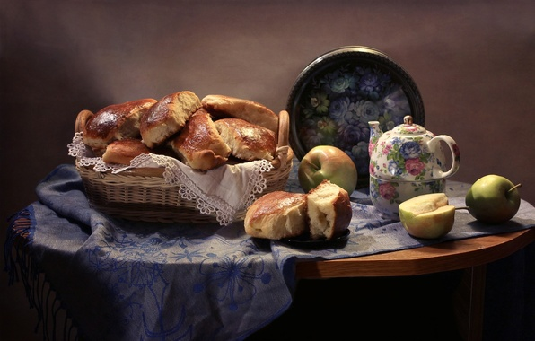 Картинка яблоки, чайник, натюрморт, платок, поднос, пирожки