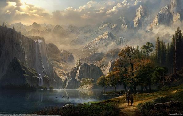 Картинка лес, девушка, горы, озеро, замок, конь, эльф, водопад, всадница, фэнтези, арт, fantasy, CG wallpapers, Idyll's …