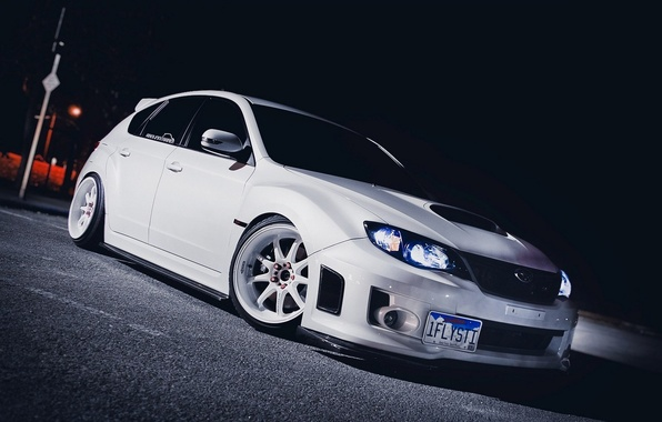 Картинка car, тюнинг, белая, white, автомобиль, subaru, wrx, impreza, jdm, wallpapers, sti, импреза, субрау
