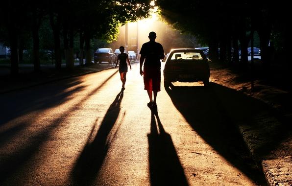 Картинка дорога, город, фото, люди, улица, тени, автомобили, Photo, town, perfect setting