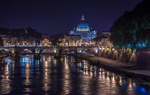 Картинка ночь, мост, огни, река, Рим, Италия, Тибр, собор Святого Петра