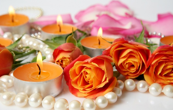 Картинка цветы, розы, свечи, лепестки