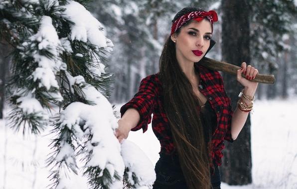 Фото обои Света, девушка, топор, лес, Ivan Kopchenov