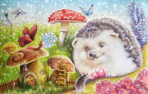 Картинка цветы, бабочка, грибы, мышка, арт, ежик