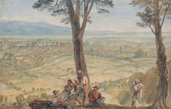 Картинка пейзаж, город, река, люди, картина, Рим, акварель, панорама, Уильям Тёрнер, Монте-Марио