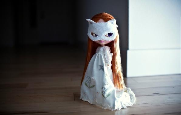 Картинка взгляд, волосы, кукла, платье, маска, рыжая, длинные