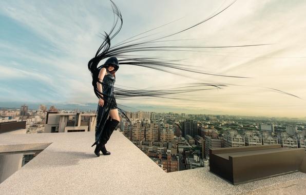 Картинка крыша, девушка, город, ветер, волосы, Dark Angel